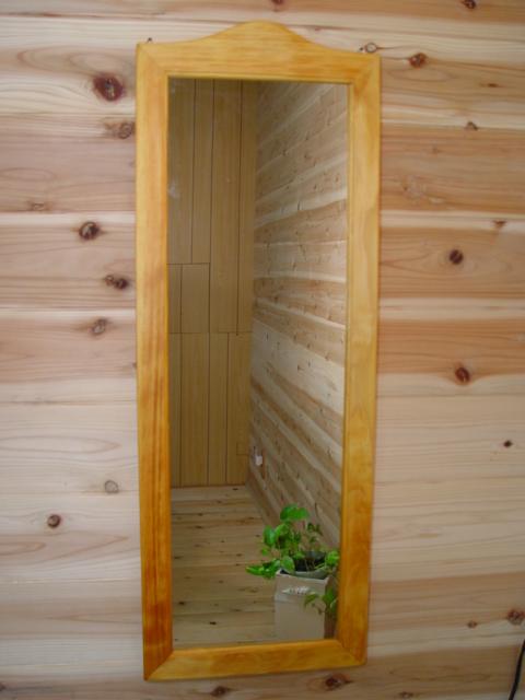 ナチュラル 木製シンプルスリムミラー 姿見鏡(33×93cm) 受注製作