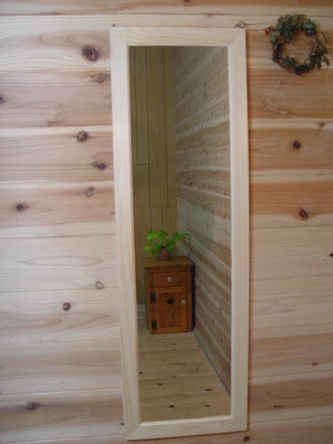 無塗装白木 木製スリムミラー 姿見鏡(33×98cm) 受注製作