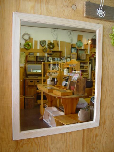 ミラー 木製 ひのき 無塗装白木 鏡 (60×70センチ) 受注製作