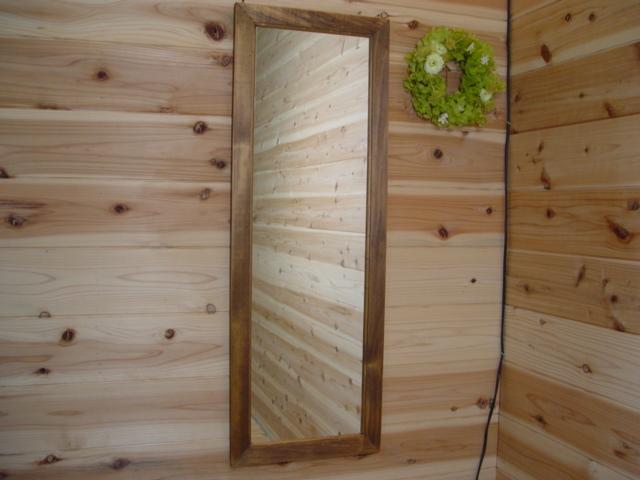 アンティークブラウン 木製スリムミラー 姿見鏡 (33×93cm) 受注製作