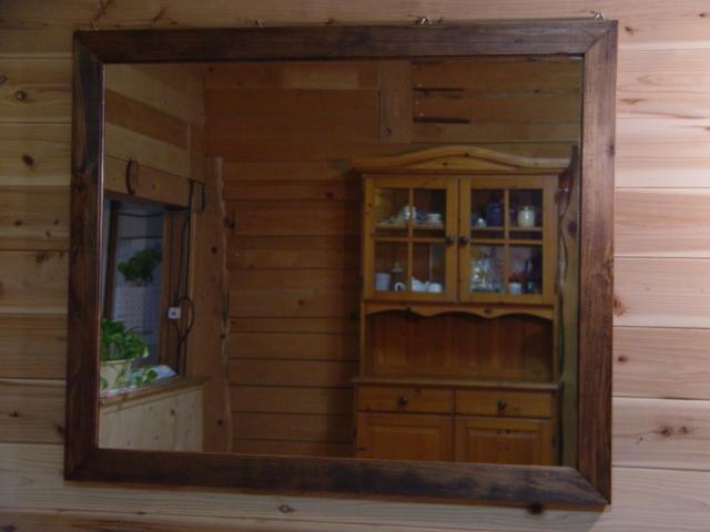 アンティークブラウン 木製ミラー 横型タイプ 鏡 (100×80cm) 受注製作