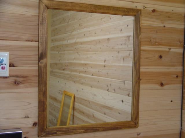 アンティークブラウン 木製ミラー 鏡 (60×70cm) 受注製作
