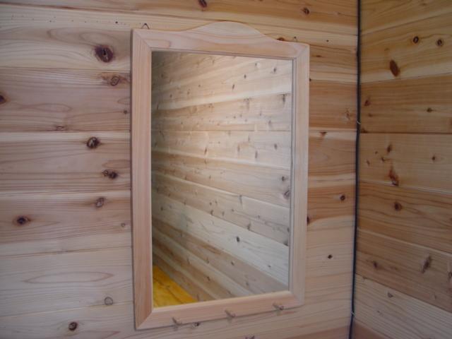 無塗装白木 木製シンプルミラーペグつき 鏡(45×70cm) 受注製作