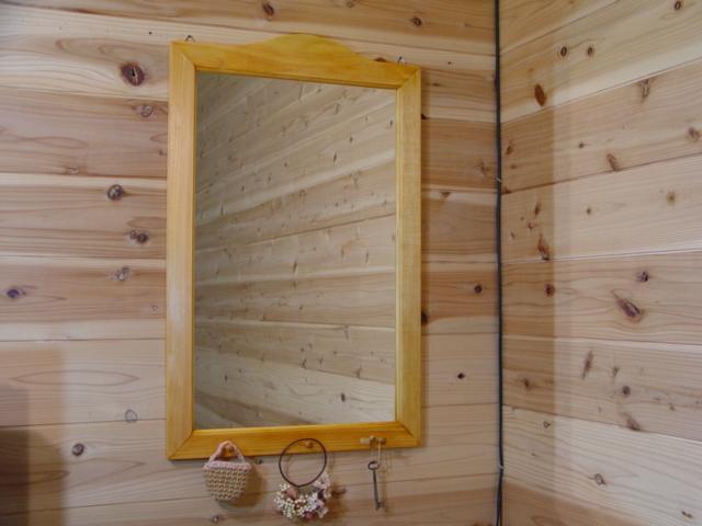 ナチュラル 木製シンプルミラーペグつき 鏡(45×70cm) 受注製作