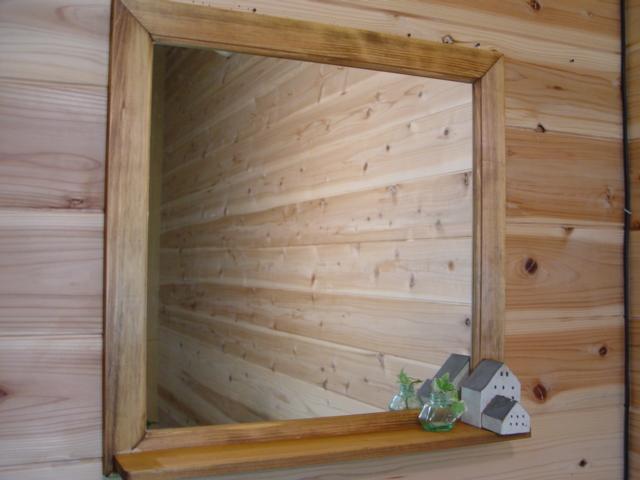 アンティークブラウン 木製正方形ミラーシェルフ 鏡 (50×50cm) 受注製作