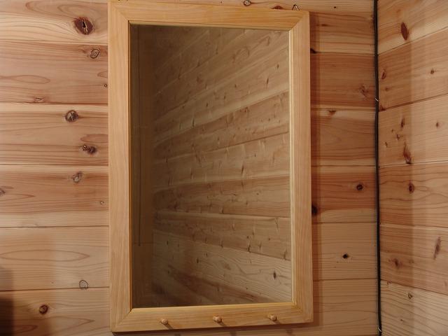 ライトオーク 木製ミラーペグつき 鏡(45×70cm) 受注製作