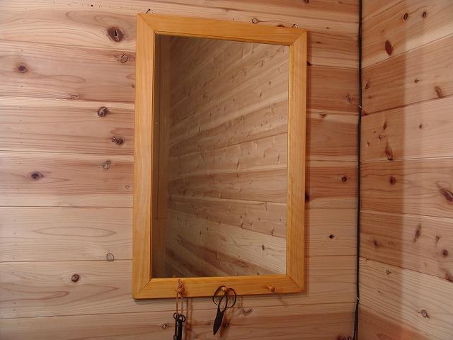 ナチュラル 木製ミラーペグつき 鏡(45×70cm) 受注製作