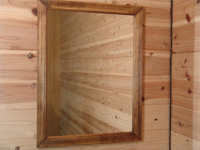 アンティークブラウン 木製ミラー 鏡(50×65cm) 受注製作