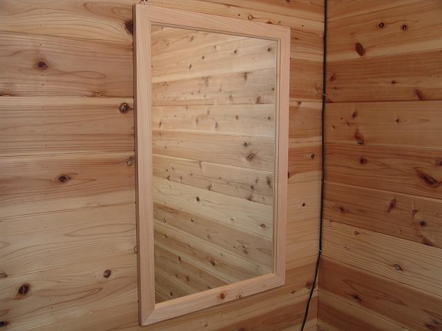 無塗装白木 木製ミラー 鏡(50×80cm) 受注製作