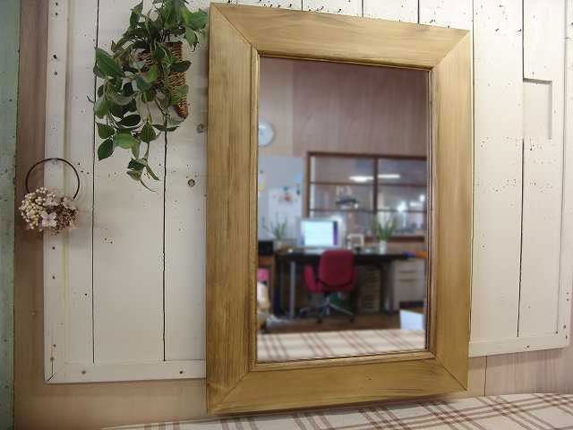 アンティークブラウン 木製太枠ミラー 鏡 (50×70cm) 受注製作