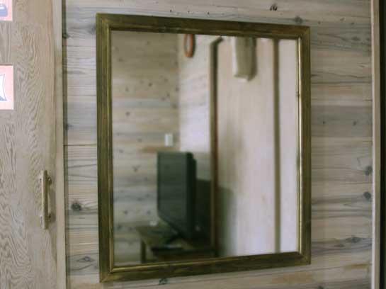 アンティークブラウン 木製ミラー 鏡(70×80cm) 受注製作
