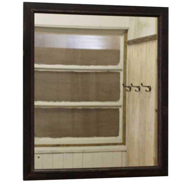 ミラー 鏡 吊り下げ金具付 ダークブラウン w60d2h70cm 木製ミラー 木製 ひのき オーダーメイド