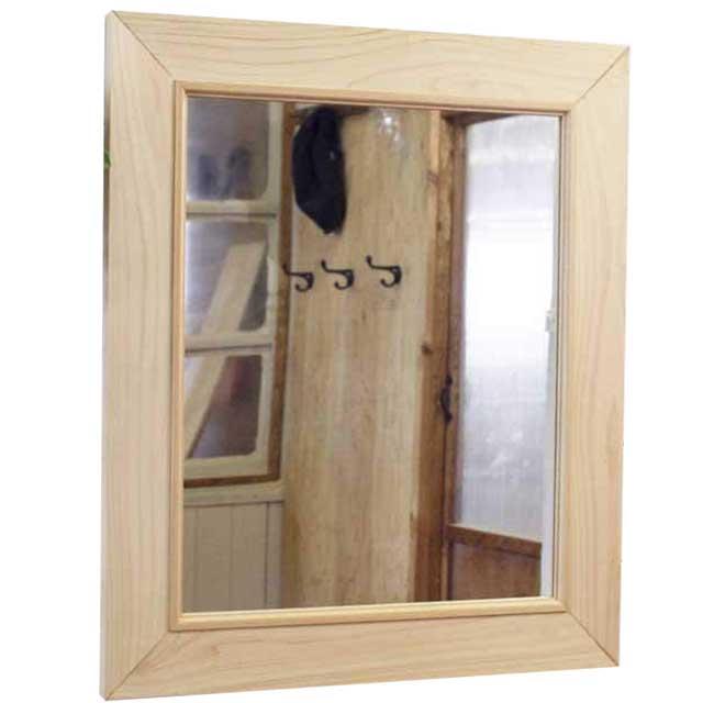 ミラー 木製 ひのき 太枠ミラー 木製フレームミラー 鏡 壁掛けミラー 60×2×70cm ライトオーク 受注製作