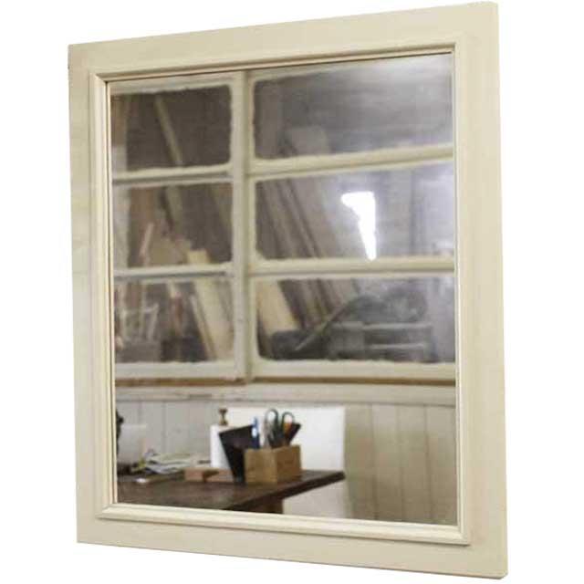 ミラー 木製 ひのき 木製フレームミラー 50×55cm ウォールミラー 壁掛け鏡 アンティークホワイト 受注製作