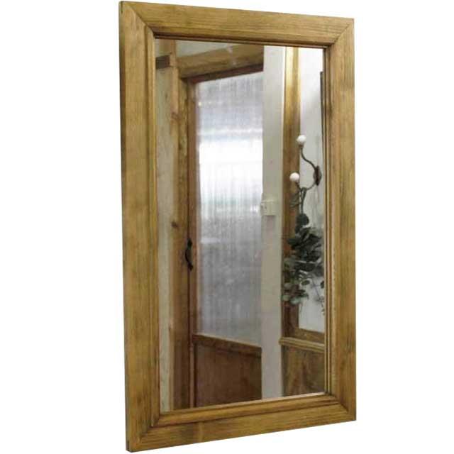 木製フレームミラー アンティークブラウン w37d2h60cm 壁掛け 木製 ひのき オーダーメイド
