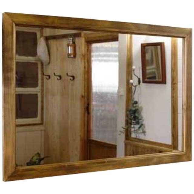 ミラー 鏡 アンティークブラウン w90d2h60cm 吊り下げ金具付 木製 ひのきオーダーメイド