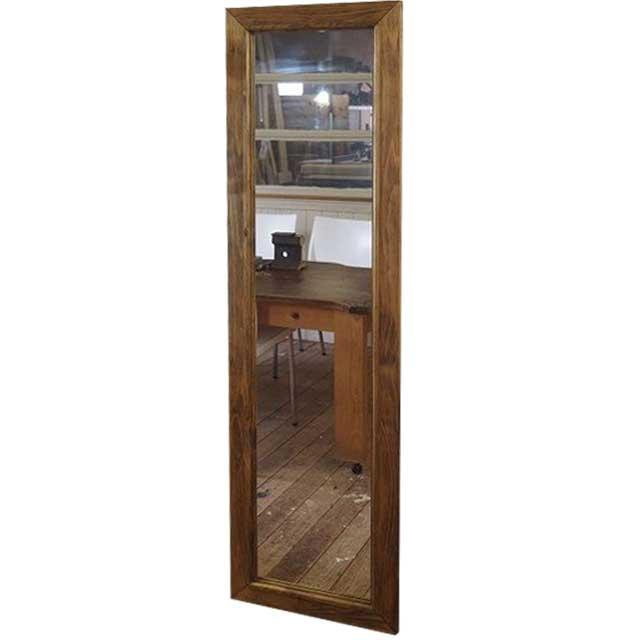 スリムミラー 姿見鏡 アンティークブラウン w33d2h120cm 全身鏡 木製 ひのき オーダーメイド