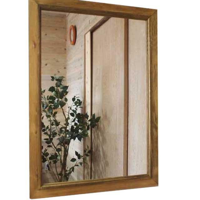 ミラー 木製 ひのき 鏡 50×70cm(アンティークブラウン)受注製作