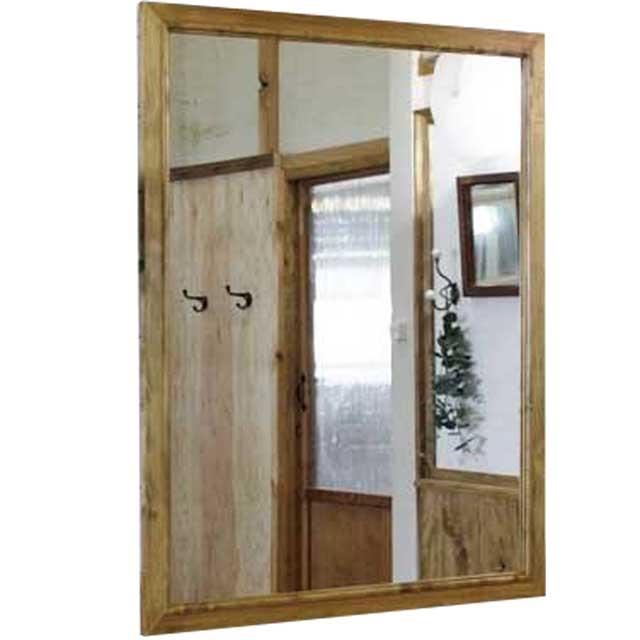 ミラー 木製 ひのき 鏡 木製ミラードッコ式吊り金具付 80×100cm アンティークブラウン 受注製作