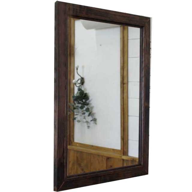 ミラー 壁掛け ダークブラウン w45d2h60cm 木製 ひのき オーダーメイド