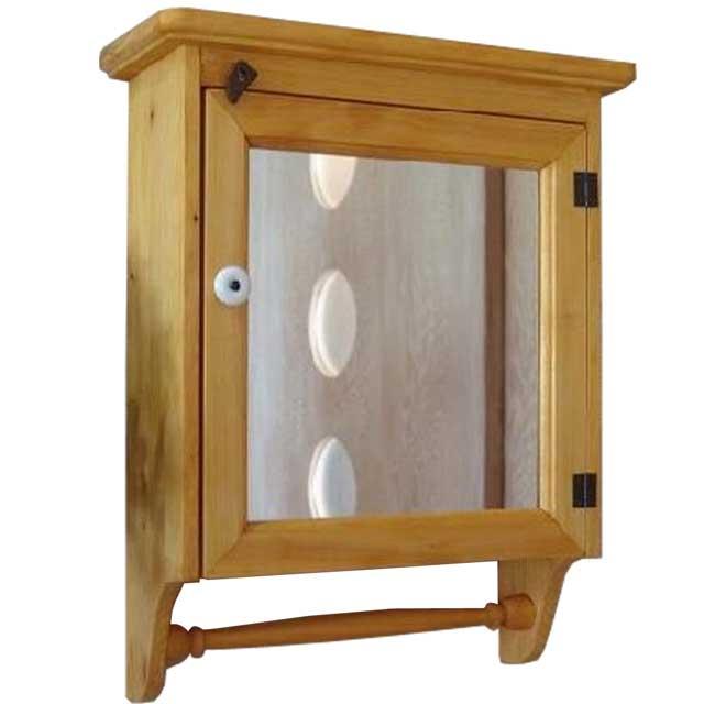 ナチュラル ミラー扉のタオルハンガーキャビネット 背板つき(37×14×47cm) オーダーメイド