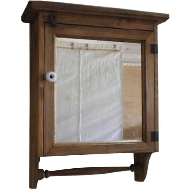 ハンガーキャビネット ミラー扉 アンティークブラウン w37d14h47cm 背板つき 木製 ひのき オーダーメイド