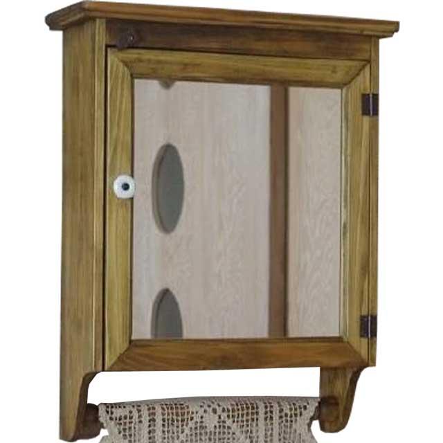 ハンガーキャビネット ミラー扉 アンティークブラウン w37d14h47cm 背板なし 木製 ひのき オーダーメイド