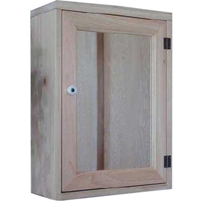キャビネットシェルフ 全面ミラー 無塗装白木 w35d15h49cm 背板つき 木製 ひのき オーダーメイド