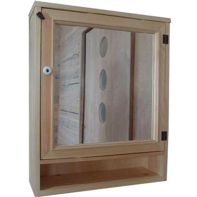 キャビネットシェルフ ミラー扉 ライトオーク w50d15h60cm 背板つき 木製 ひのき オーダーメイド