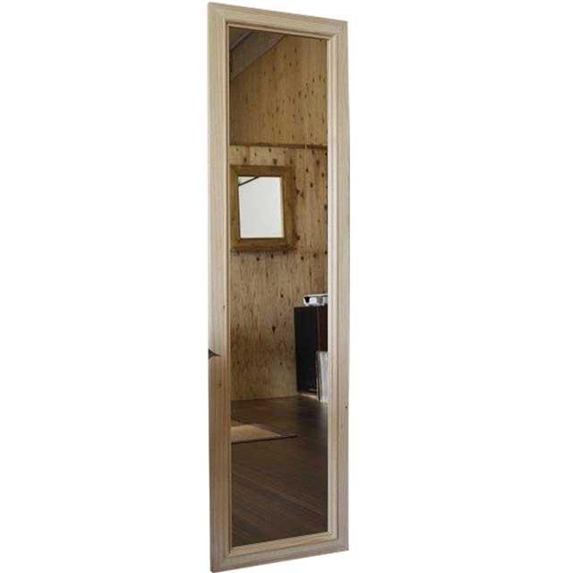 スリムミラー 鏡 無塗装白木 w33d2h120cm 姿見鏡 木製 ひのき オーダーメイド