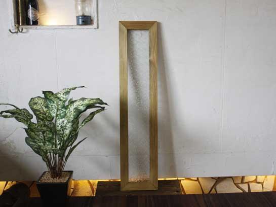 アンティークブラウン フローラガラスのガラスフレーム(20×90cm) 受注製作