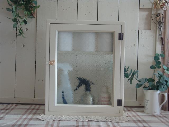 アンティークホワイト フローラガラスのトイレットペーパーキャビネット パンプキンノブ・マグネット・二段仕様(ニッチ用埋め込みタイプ) 受注製作