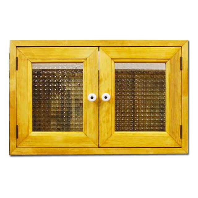 室内窓 採光窓 木製 ひのき ナチュラル 片面取っ手付き チェッカーガラス扉 マグネット仕様 53×6×34cm オーダーメイド 1327933