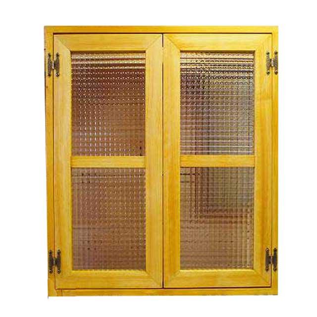 室内窓 採光窓 木製 ひのき ナチュラル チェッカーガラス扉 60×15×70cm 扉厚み3cm マグネット仕様 両面桟入り 北欧 オーダーメイド 1354963