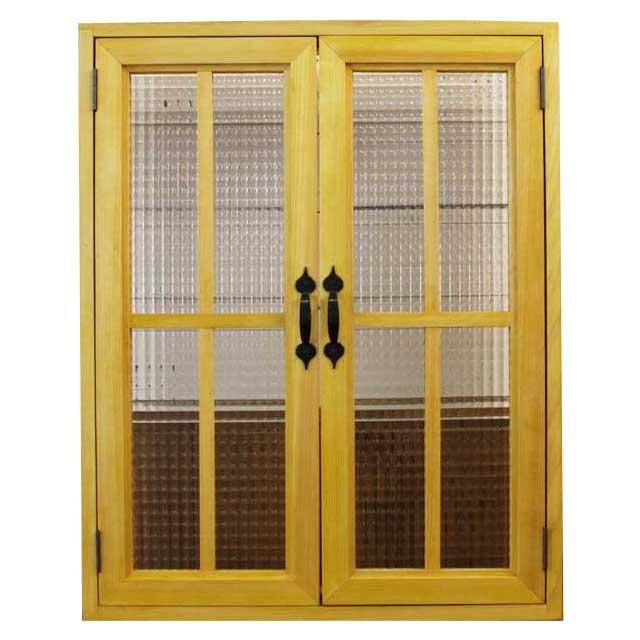 室内窓 採光窓 チェッカーガラス扉 木製 ひのき 60×15×75cm・厚み3cm マグネット仕様 両面桟 アイアン取っ手つき 北欧 ナチュラル オーダーメイド 1327933