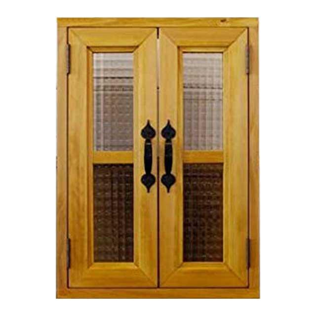 室内窓 採光窓 木製 ひのき チェッカーガラス扉(36×14×50cm 扉厚み3cm)両面アイアン取っ手・マグネット仕様(ナチュラル) オーダーメイド 1327933