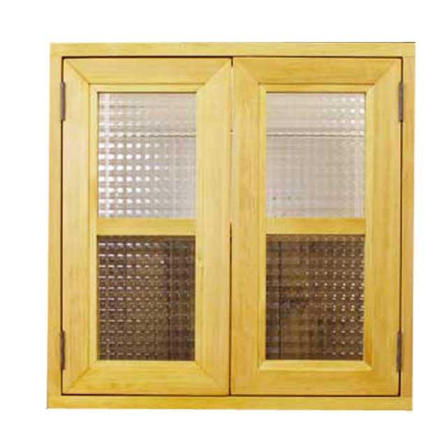 室内窓 採光窓 木製 ひのき ナチュラル チェッカーガラス 50×8×50cm 扉厚み3cm マグネット仕様 オーダーメイド 1327933