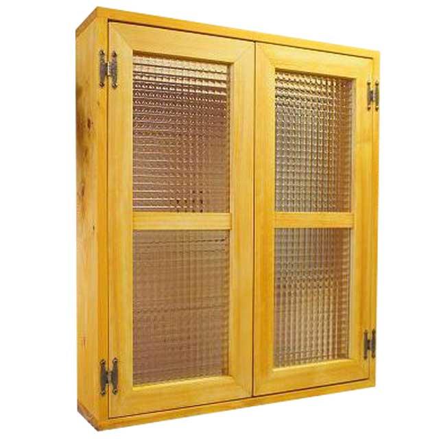 室内窓 採光窓 木製 ひのき ナチュラル チェッカーガラス扉 60×15×70cm 扉厚み3cm 両面仕様 マグネット仕様 オーダーメイド 1327933