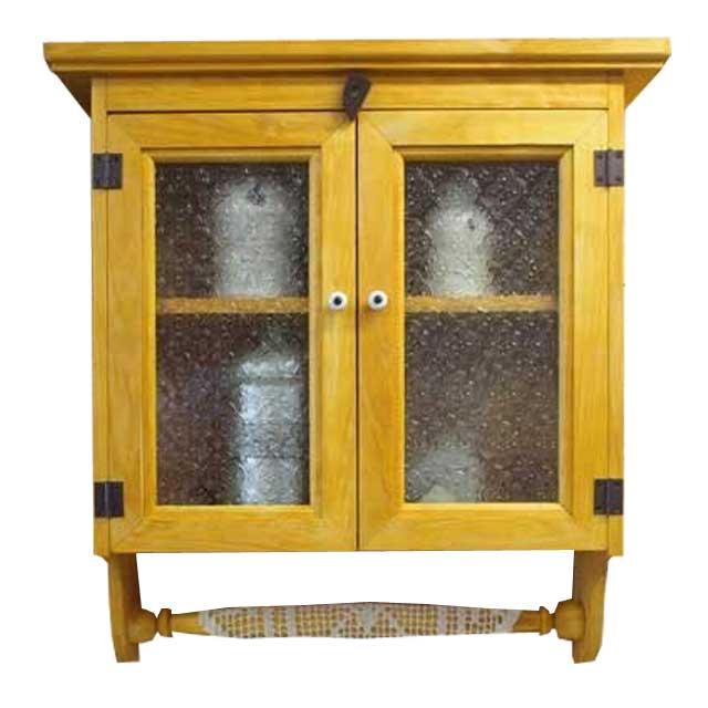 キャビネットシェルフ 木製 ひのき フローラガラス ハンガー付き ナチュラル 受注製作
