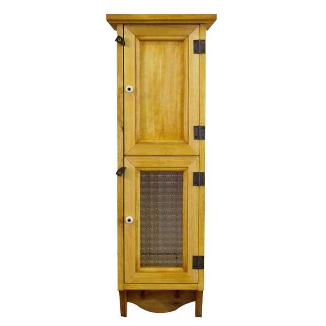 スリムキャビネット 木製 ひのき チェッカーガラス扉&木製扉 ペグつき 壁掛けキャビネット 20×15×60cm ナチュラル オーダーメイド