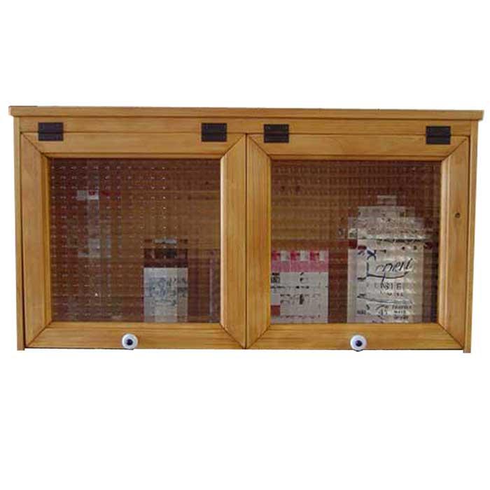キャビネット チェッカーガラス二枚扉 w60d16h31cm ナチュラル 横型キャビネット 見せる収納 木製 ひのき オーダーメイド