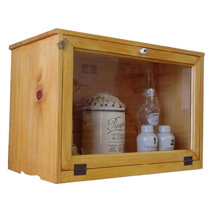 横型キャビネット 透明ガラス扉 w46d25h32cm ナチュラル 見せる収納 おうちカフェ 木製 ひのき オーダーメイド