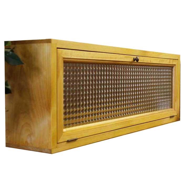 キャビネット チェッカーガラス扉 w80d15h26cm ナチュラル 横型 おうちカフェ キッチンカウンター上収納 木製 ひのき 受注製作