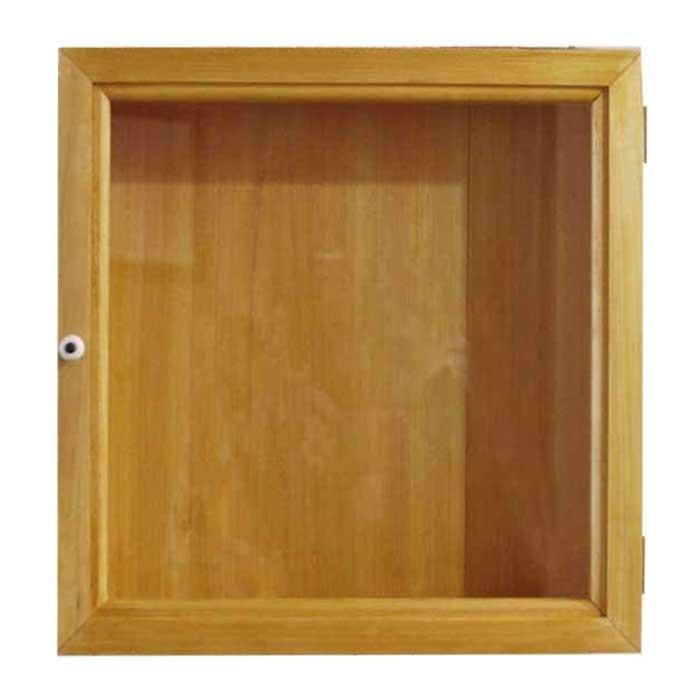 コレクションケース 透明ガラス ナチュラル w30d7h30cm 四角 木製 ひのき オーダーメイド