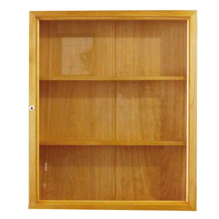 コレクションケース 透明ガラス扉 ナチュラル w47d10h56cm 三段棚 木製 ひのき オーダーメイド