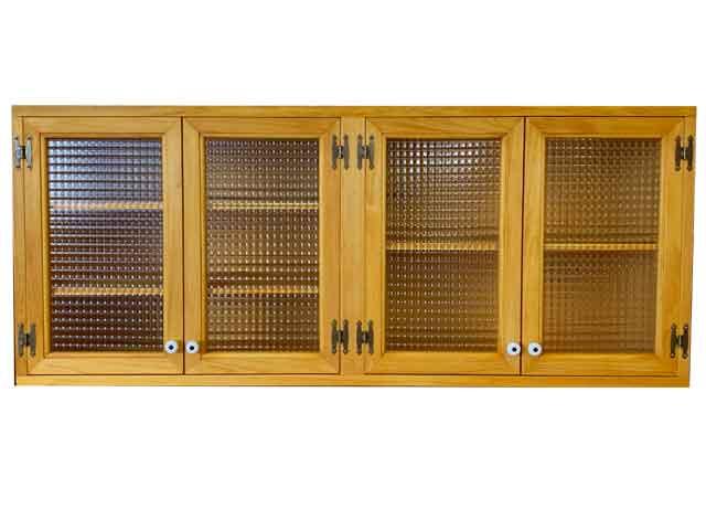 吊戸棚 棚付き チェッカーガラス ナチュラル w120d30h50cm 白つまみ 木製 ひのき ハンドメイド オーダーメイド