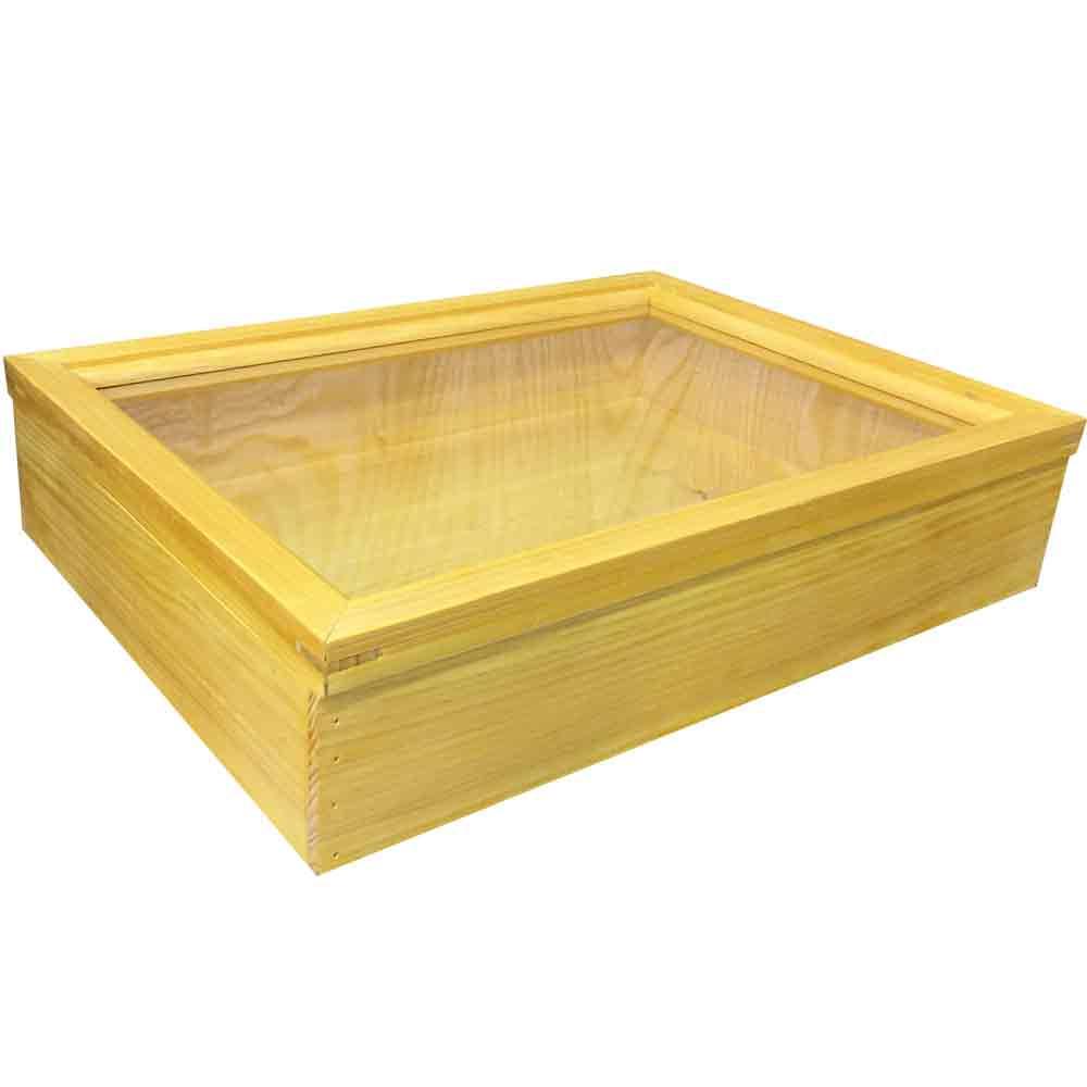 早め発送 1380051 コレクションケース 透明ガラス ナチュラル 40.5×29.5×9cm つまみなし 木製 檜 ハンドメイド