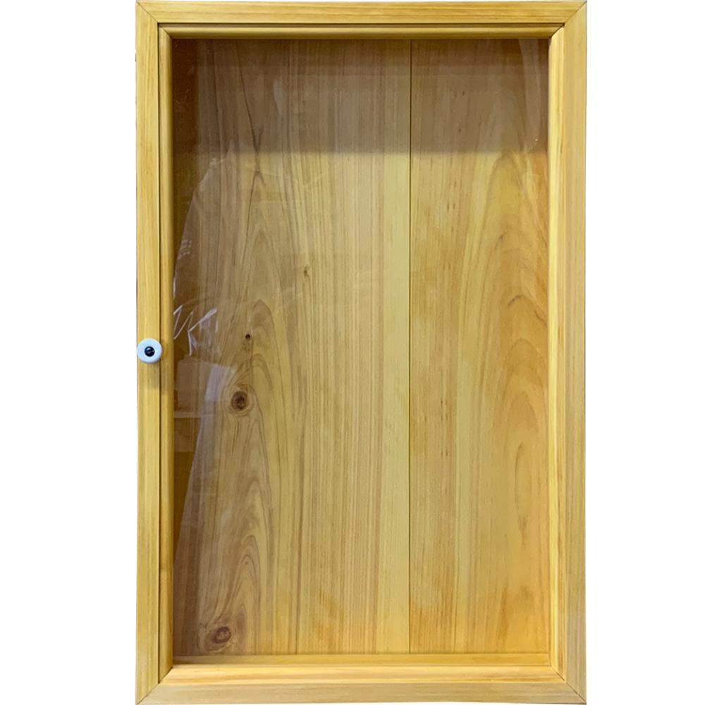 ディスプレイケース 透明ガラス ナチュラル 35×10×55cm ロングタイプ 木製 ひのき ハンドメイド オーダーメイド 1380051
