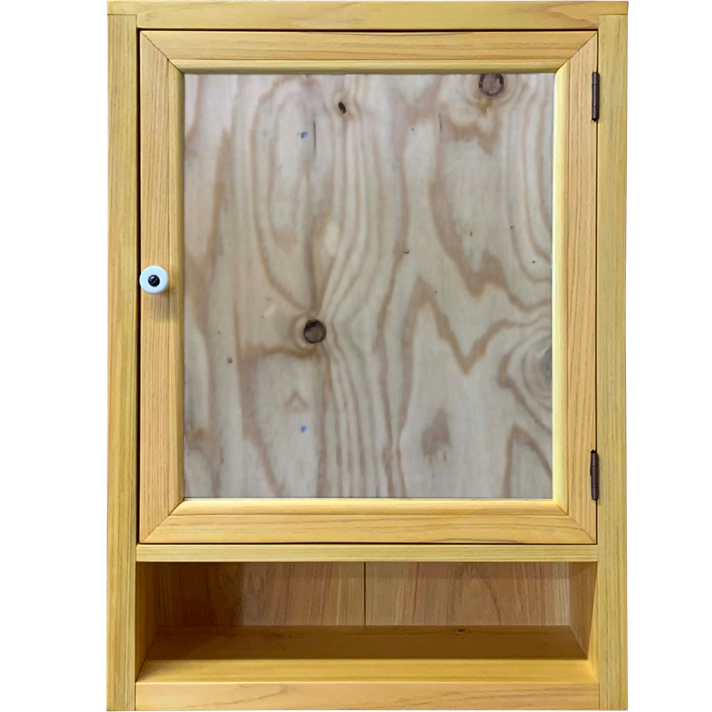ミラーキャビネット 背板つき ナチュラル 35×15×49cm 木製 ひのき ハンドメイド オーダーメイド