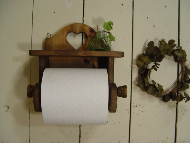 Wooden Toilet Paper Holder Shelf Of The Antique Brown Heart Is With It